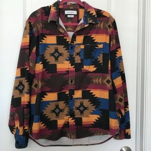 UO Long Sleeve Patterned Flannel Shirt